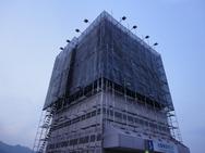 長野市 ベイシア様 看板外部足場工事